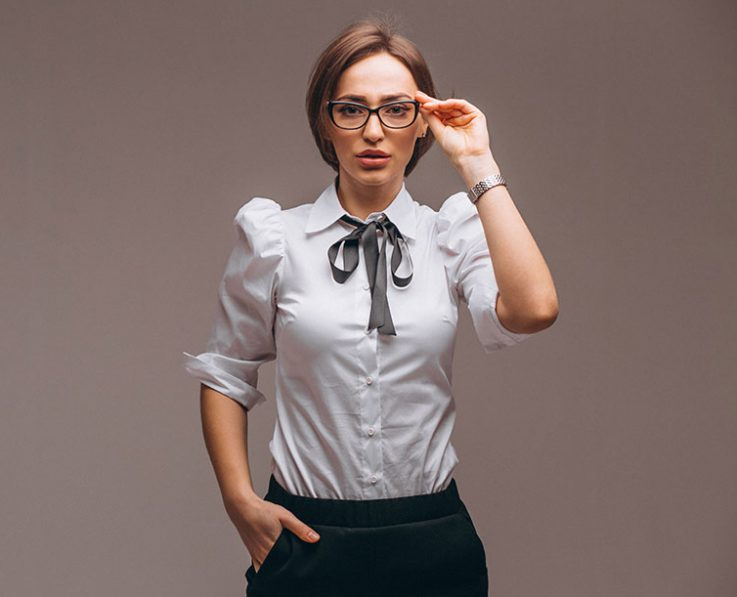 Business woman with emotions isolated